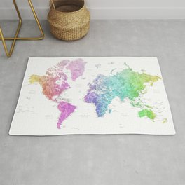 Rainbow watercolor detailed world map Jude Rug