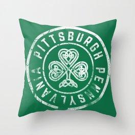 Pittsburgh Irish Shamrock St Patricks Day 412 Steel City Vintage Throw Pillow