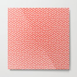 Forget Me Nots - White on Living Coral Metal Print