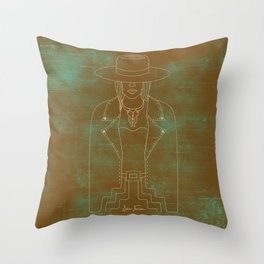 Lady Outlaw Rust & Distressed Turquoise Throw Pillow