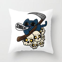 Soul Cat Grim Reaper Throw Pillow