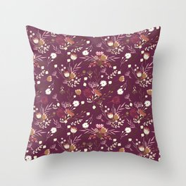 Burgundy white blush pink hand painted floral Throw Pillow