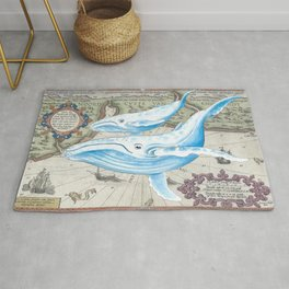 Blue Whales Ancient Map Rug