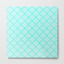 Damask (White & Turquoise Pattern) Metal Print