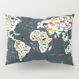 Cartoon animal world map for kids, back to school. Animals from all over the world Pillow Sham
