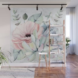 Pretty Succulents on Marble by Nature Magick Wall Mural