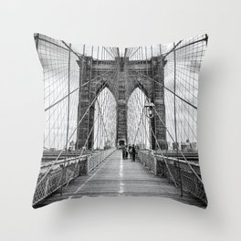 Brooklyn Bridge, New York City (rustic black & white) Throw Pillow