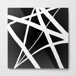 Geometric Line Abstract - Black White Metal Print