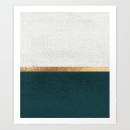 Deep Green, Gold and White Color Block Kunstdrucke