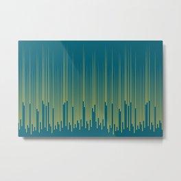 Dark Yellow Minimal Frequency Line Art on Tropical Dark Teal Inspired by Sherwin Williams 2020 Trending Color Oceanside SW6496 Metal Print