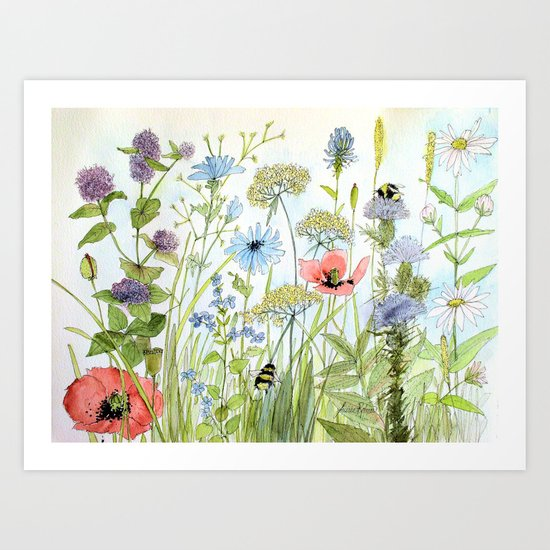 Floral Watercolor Botanical Cottage Garden Flowers Bees Nature Art by betweentheweeds
