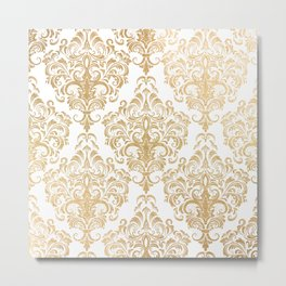 Gold foil swirls damask 15 Metal Print