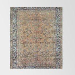 Kashan Floral Persian Carpet Print Throw Blanket