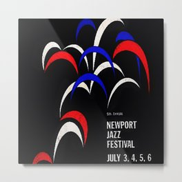 1958 Newport Jazz Festival Vintage Advertisement Poster Newport, Rhode Island Metal Print