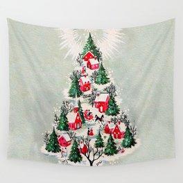 Vintage Christmas Tree Village Wall Tapestry