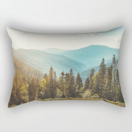 Amazing mountain landscape with colorful vivid sunset on the cloudy sky, natural outdoor travel background. Beauty world. Rectangular Pillow