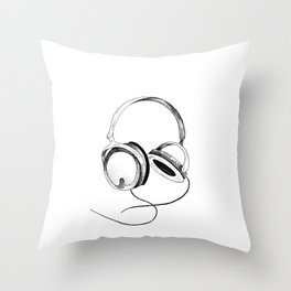 Headphones. Sketch style, black and white print. Throw Pillow