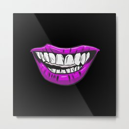 Violet Lips Scary Mouth Fun Design Metal Print