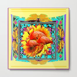 Ornate Yellow Art Flamingos Turquoise-Blue Design Metal Print