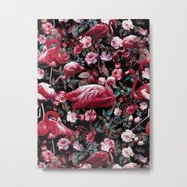 Floral and Flamingo VIII pattern Metal Print