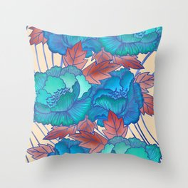 Peonies and Stripes Pattern - Blue, Purple,Yellow Throw Pillow