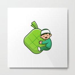 Cute Moslem Boy Hugging Ketupat Food Cartoon Icon Illustration People Religion Icon Concept Isolated Metal Print