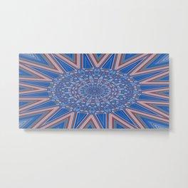 Blue Red and White Kaleidoscope Pattern Metal Print