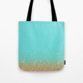 Sparkling gold glitter confetti on aqua teal damask background Tote Bag