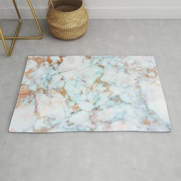 Soft Whites, Aquas and Blush of Pink and Rose Gold Veins Marble Rug