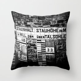 Water Level Möhne Reservoir Lake bw Throw Pillow