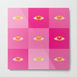 Heart Eyes - Pink Shade Metal Print