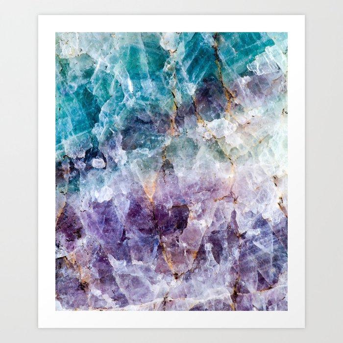 Turquoise & Purple Quartz Crystal Kunstdrucke