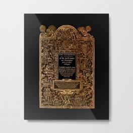 Euclid's Elements Renaissance Era Illustration Gold on Black Metal Print