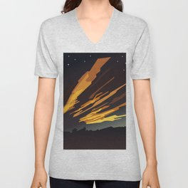 Sunrise cartoon landscape and comet tails Unisex V-Neck
