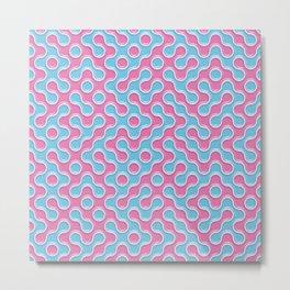 Blue Pink Truchet Tilling Pattern Metal Print