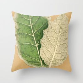 Leaves - Minimalist Soft Beige Green Leaf Graphic Throw Pillow