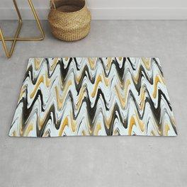 Zigzag Black, Yellow and White Rug
