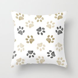 Doodle grey and gold paw print seamless fabric design repeated pattern background Throw Pillow