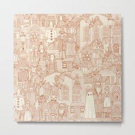 vintage halloween rust ivory Metal Print