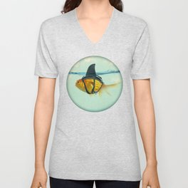 Brilliant DISGUISE - Goldfish with a Shark Fin Unisex V-Neck