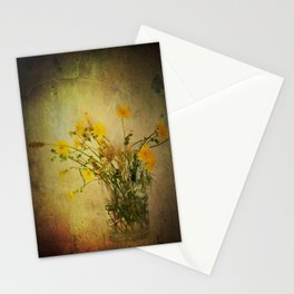 One Glass with pretty yellow weeds Stationery Cards