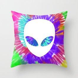 Rainbow tie dye alien head tye die trippy rave Throw Pillow