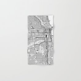 Chicago White Map Hand & Bath Towel