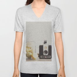 a vintage kodak brownie camera with delicious french macarons Unisex V-Neck