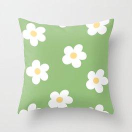 Retro 60's Flower Power Print Throw Pillow