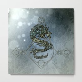Asia dragon on vintage background Metal Print