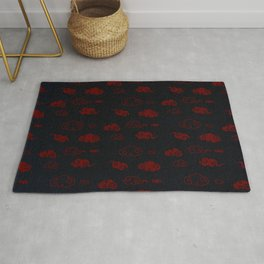 Red and Black Asian Style Cloud Pattern Rug