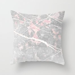 Pastel Pink & Grey Marble - Ombre Throw Pillow