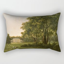 Classical Masteripiece 'A View of the South Front of Bower House, Havering-atte-Bower' by Abraham Pe Rectangular Pillow