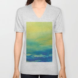 YELLOW & BLUE TOUCHING #1 #abstract #art #society6 Unisex V-Neck